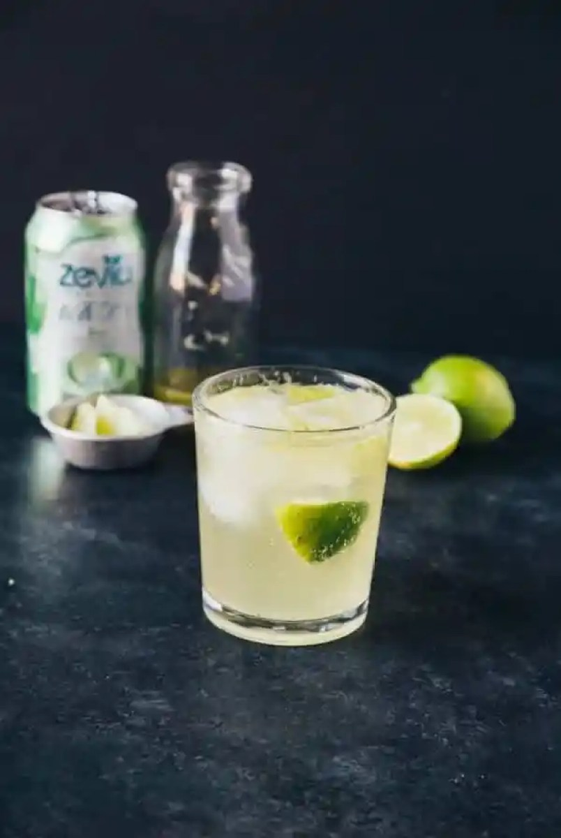 Virgin Agave Lime Margarita- virgin margarita with agave and lime, sweet and bubbly! Pairs perfectly with tacos or sitting in the sun on a beach