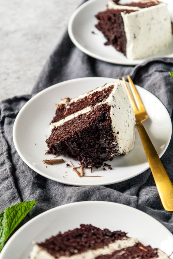 mint chocolate cake slices on plates