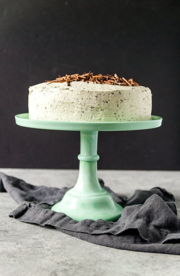 mint chocolate cake on a cake stand