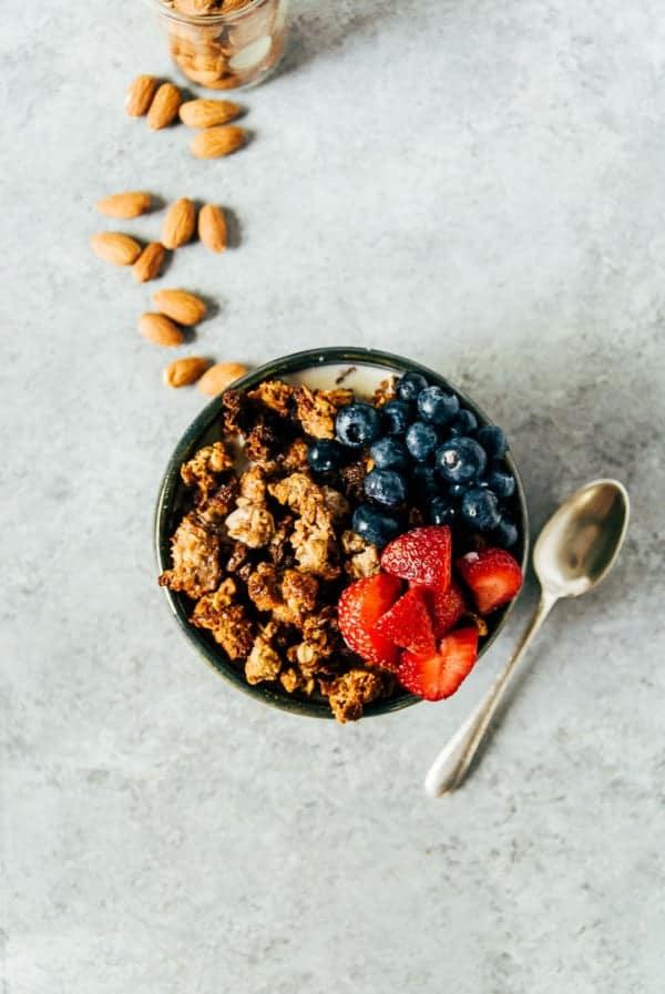 almond granola in a bowl