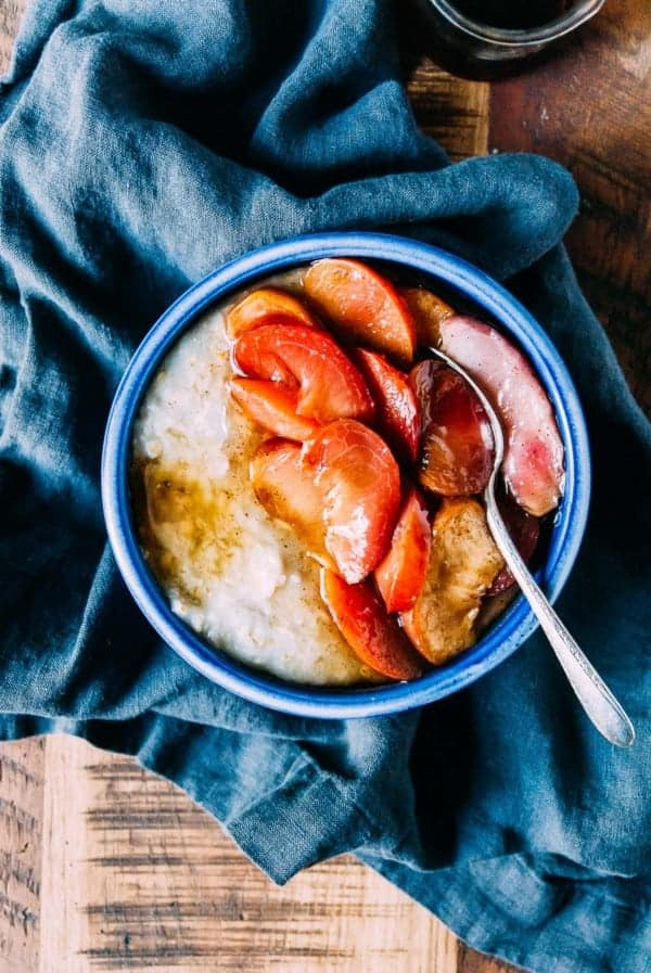 A fall ready breakfast, sweet vanilla bean roasted stone fruit oatmeal is a perfect and easy way to get breakfast on the table!