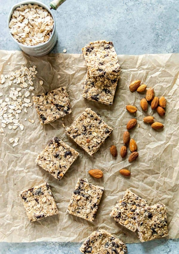 Chocolate Almond Vegan Granola Bars