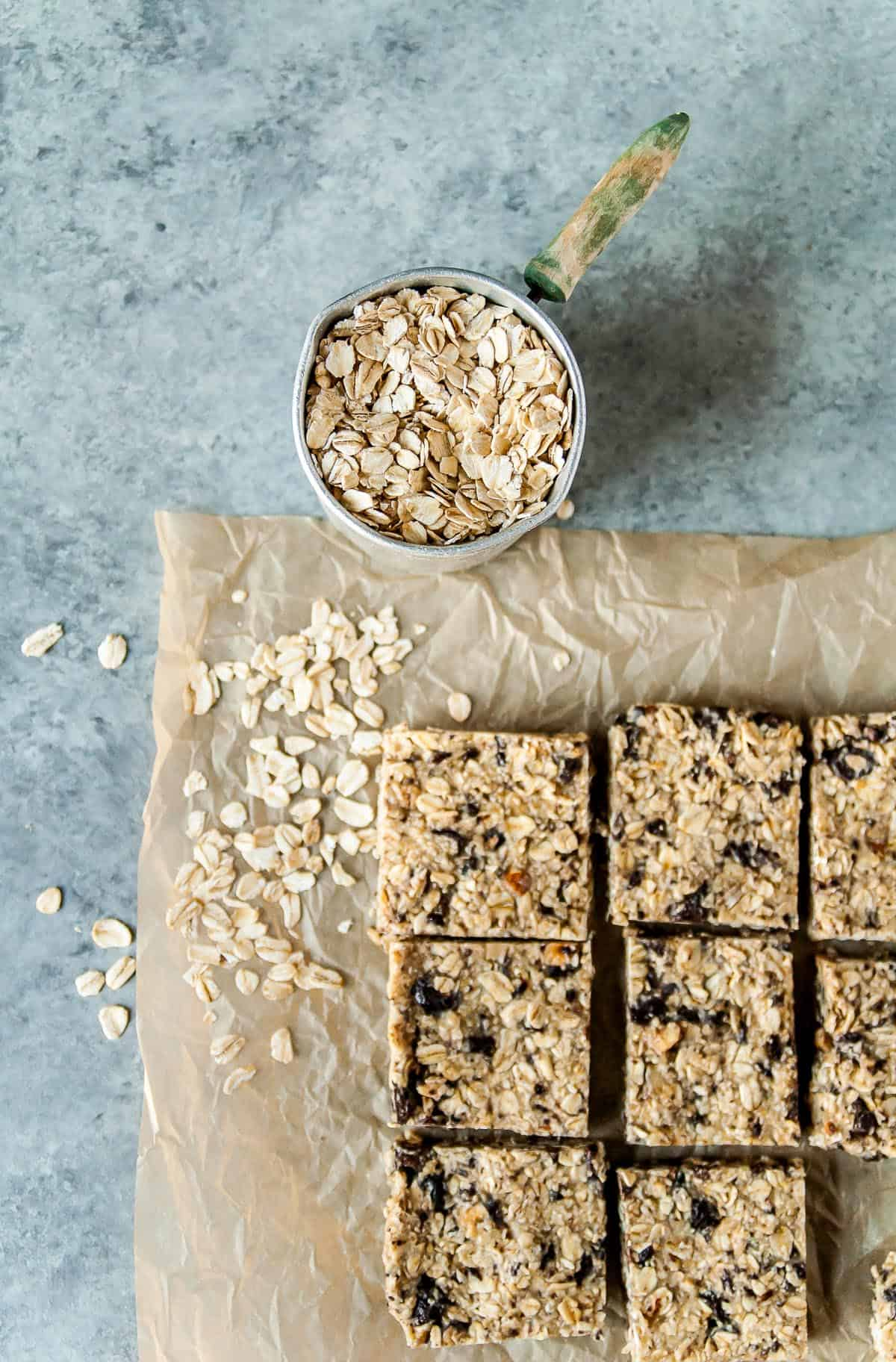 sliced vegan granola bars on parchment paper