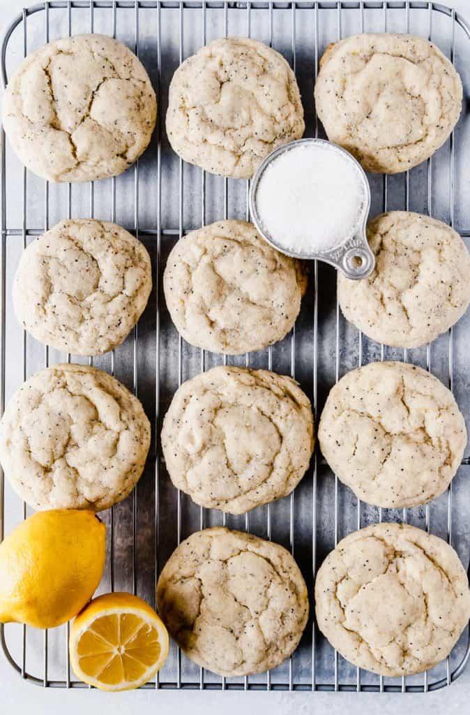 Citrus poppy seed cookies on cooling rack