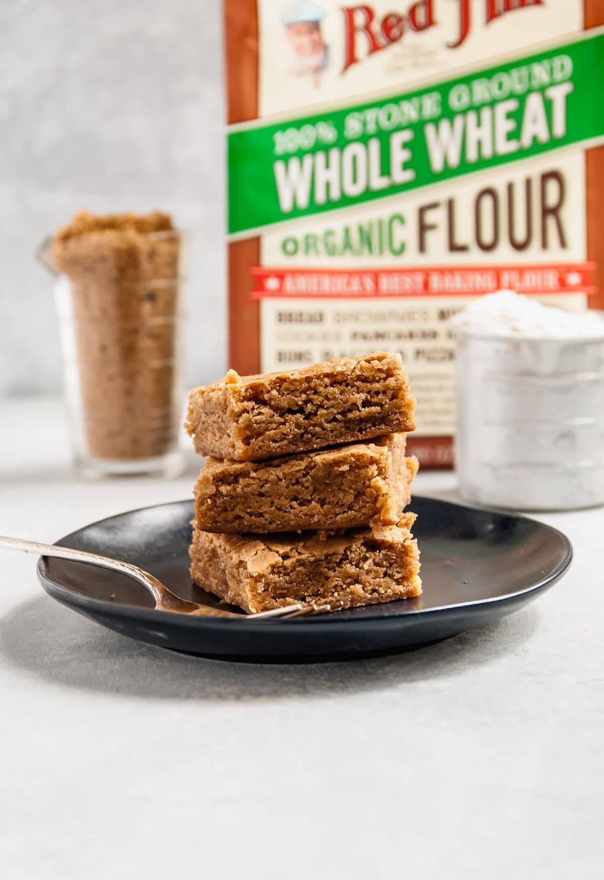 Whole Wheat Vegan Blondies on plate