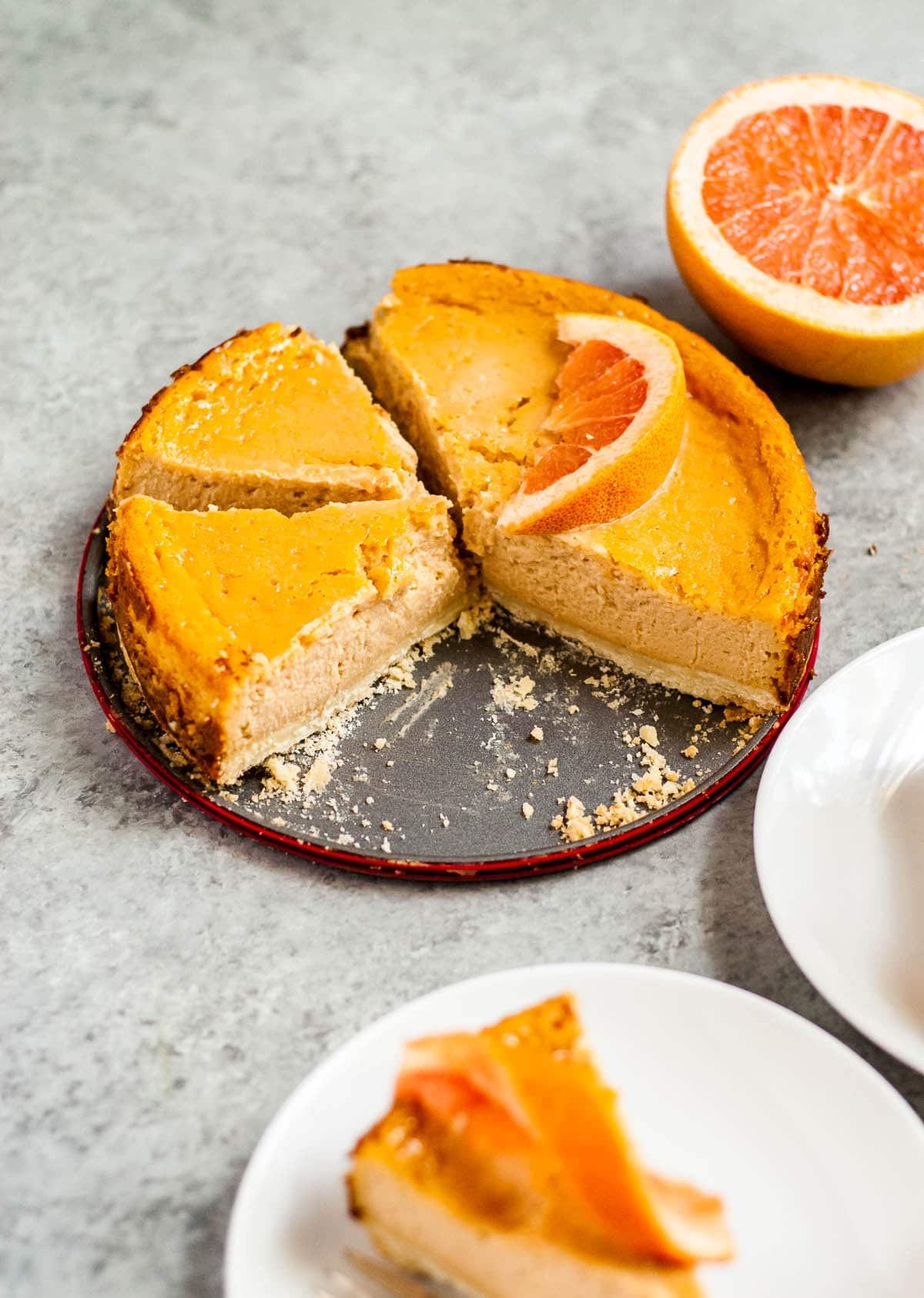 grapefruit cheesecake on plate