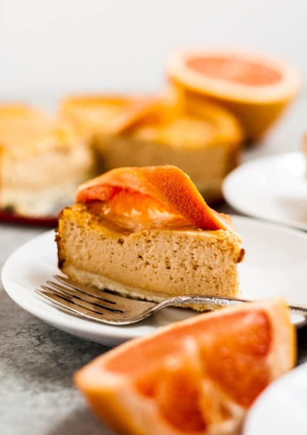 Grapefruit Vegan Cheesecake with Shortbread Crust