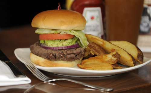 image of burger and potatoes