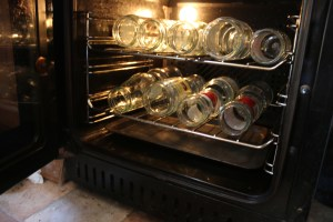 Jars in the oven to warm