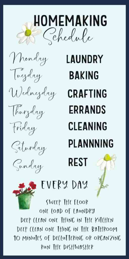 homemaking schedule graphic with days of the week