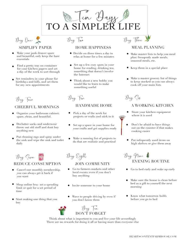 printable graphic with list of ten days to a simpler life