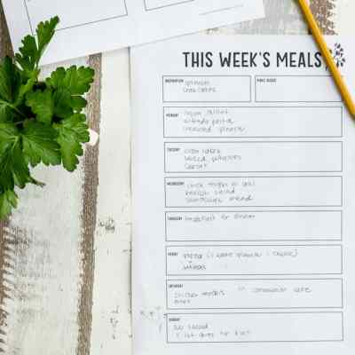 meal planning printable sheet next to pencil