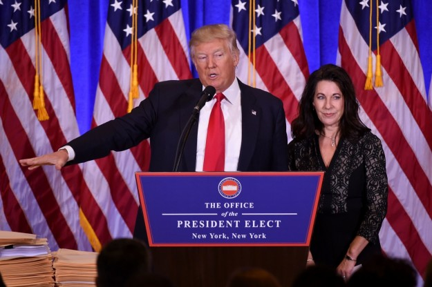 Donald Trump was joined at his news conference on Wednesday by Sheri Dillon, a lawyer representing him.