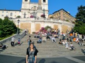 In front of the Spanish Steps! Note the awesome backpack