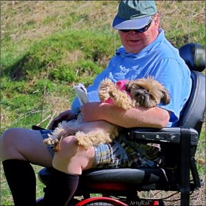 elderly person with dog