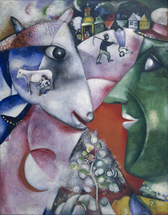 1911, I and the Village, oil on canvas, 192.1 x 151.4 cm, Museum of Modern Art, New York