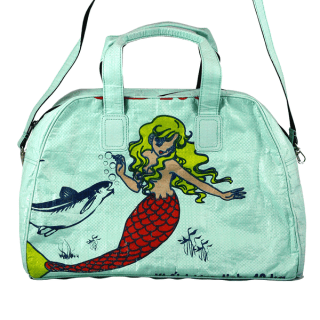 Green Mermaid Weekender bag that gives back Nomi HeartStories