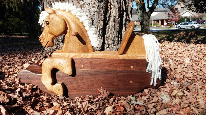 hand carved rocking horse toddler size from reclaimed lumber