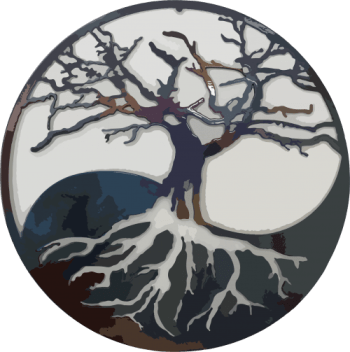 The logo of Heartwood Farm Tables, LLC - tree branches and roots grow into each half of a yin and yang symbol with a heart in the center of the tree.