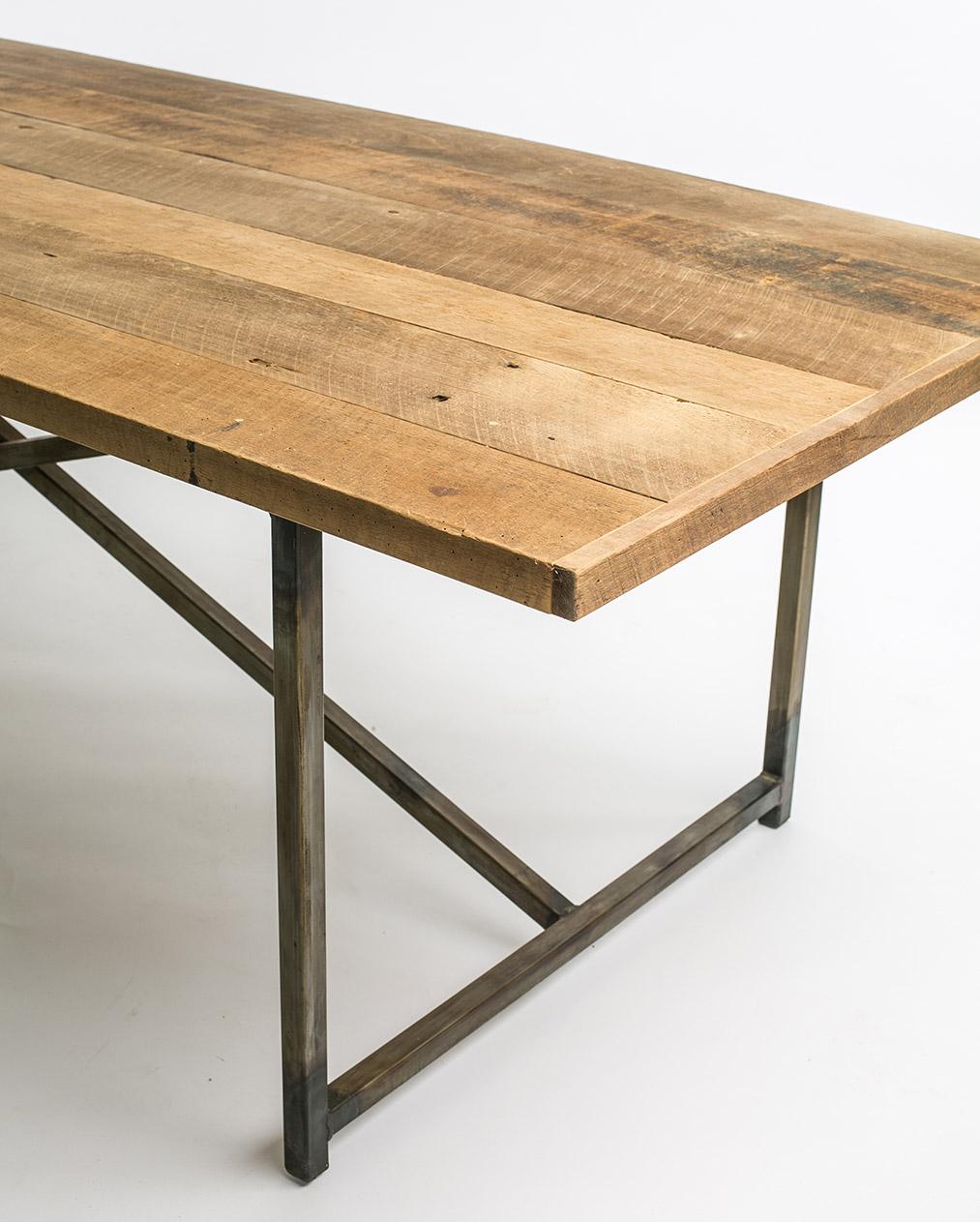 Barn Lumber Top with Metal Base