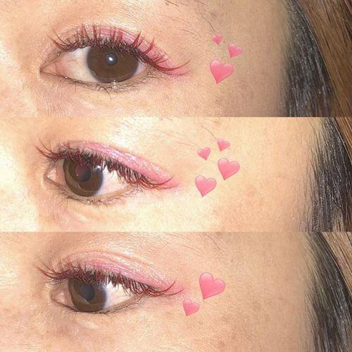 ..hearty eyelash ︎︎red × marron mix .gwのご予約、埋まりつつあります💭.本日、ご案内可能なお時間ありますのでお気軽にお問い合わせ下さい♪.( @__ememr ).#HEARTY #eyelash