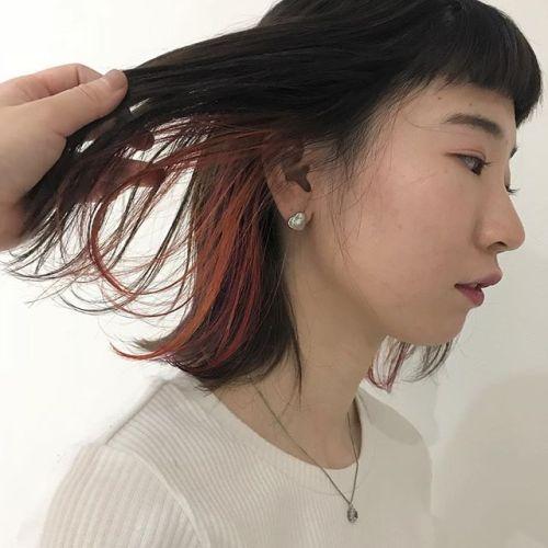 担当シオリ @shiori_tomii インナーのみケアブリーチしてオレンジとパープルをMIX#hearty#shiori_hair #インナーカラー#オレンジ#パープル#ハイライト#ヘアカラー#カラーバター#高崎美容室#高崎