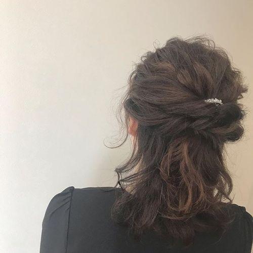 結婚式ヘアセット・・ハーフアップアレンジ・・#三つ編み#編み込み#編みおろし#ヘアセット#ヘアアレンジ#簡単アレンジ#ヘアアレンジ#アレンジヘア#くるりんぱ#くるりんぱアレンジ#ポニーテールアレンジ#hair arrange#hairset#haircolor