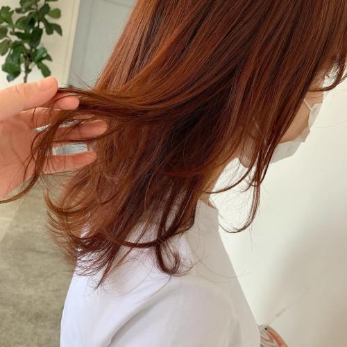 担当シオリ @shiori_tomii ブリーチなしのアプリコットオレンジ派手すぎない絶妙なカラーを配合してつくっています♡#hearty#shiori_hair #アプリコットオレンジ#オレンジ#オレンジベージュ #高崎美容室#群馬美容室#高崎#群馬