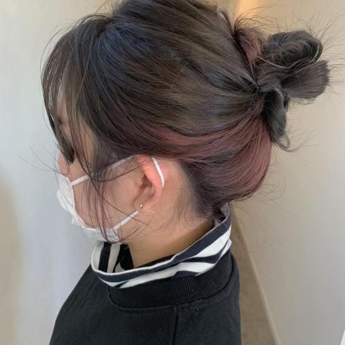 stylist シオリ @shiori_tomii #hearty#shiori_hair #グレージュ#インナーカラー#お団子ヘア #ヘアアレンジ#高崎美容室#群馬美容室#高崎#群馬