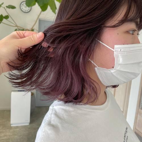 担当シオリ @shiori_tomii 上はピンクブラウンでインナーはピンクラベンダーにブリーチ1回です#hearty#shiori_hair #ブロッサムピンク#ピンクアッシュ#ピンクベージュ #ピンクブラウン #高崎美容室#群馬美容室#高崎#群馬