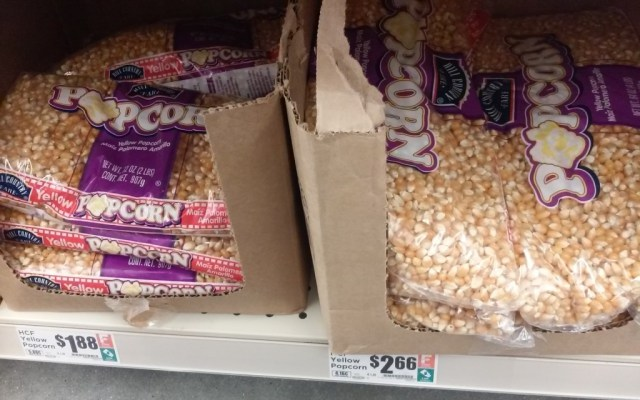 Regular, plain, bagged popcorn.