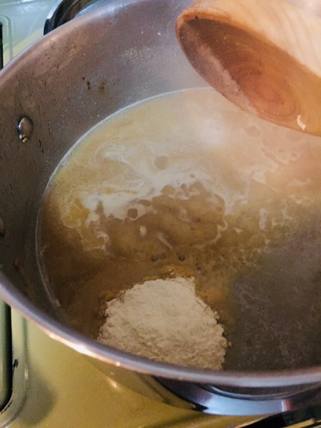 Making Roux chicken stock coconut flour