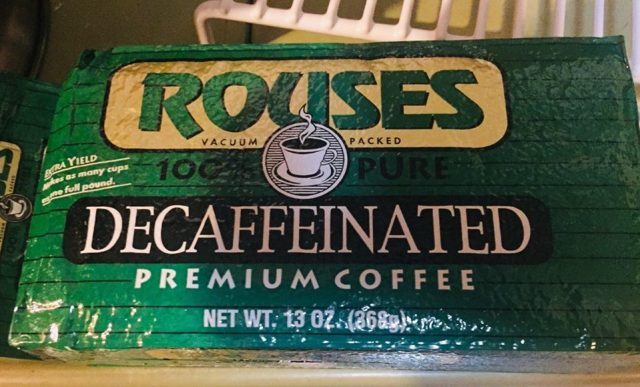 Bag of Rouse's decaf coffee