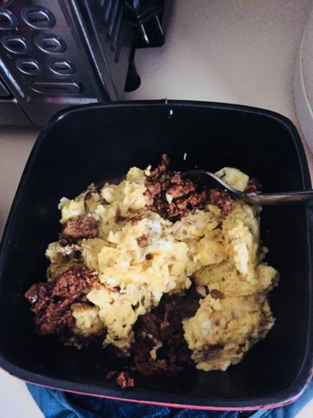 Chorizo with scrambled eggs