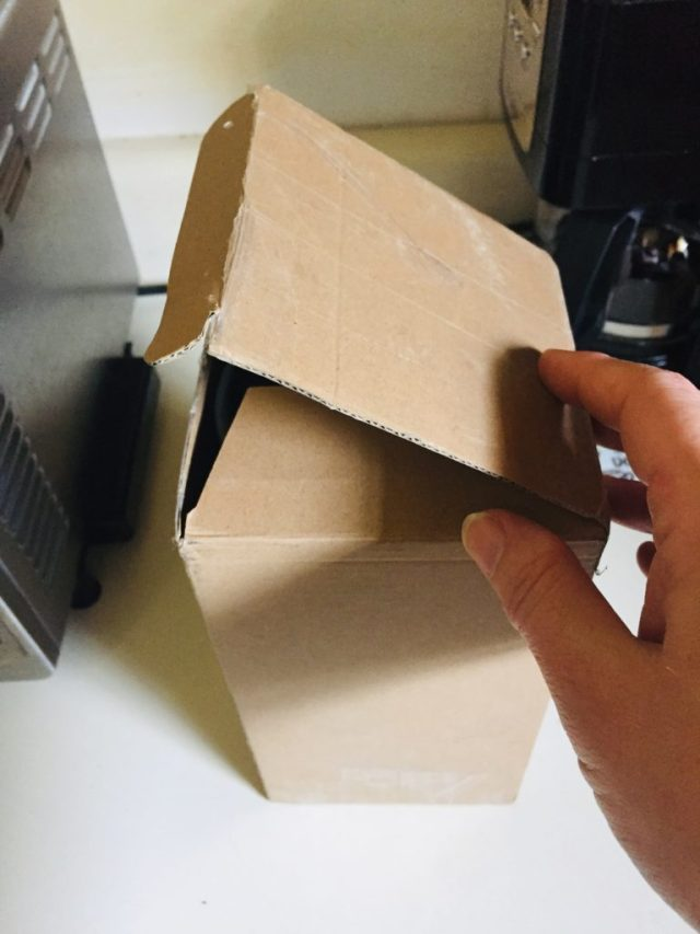 Opening the box to the Barista cup