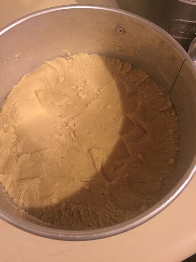 Neat cheesecake crust in pan