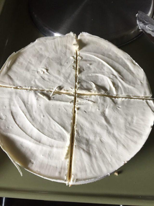 Cheesecake cut in quarters