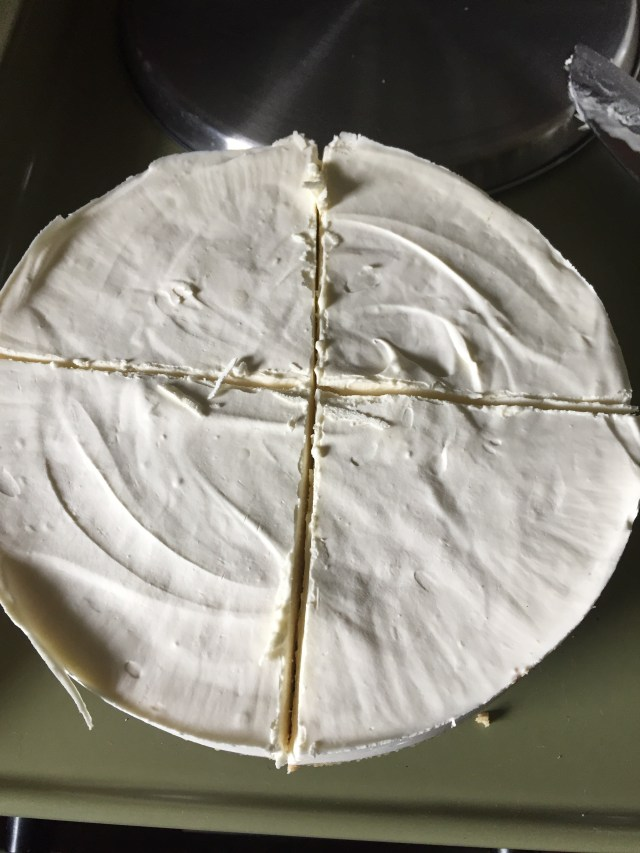 Cheesecake cut in quarters