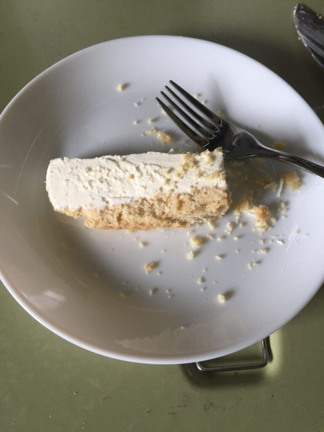 Slice of cheesecake on plate with fork