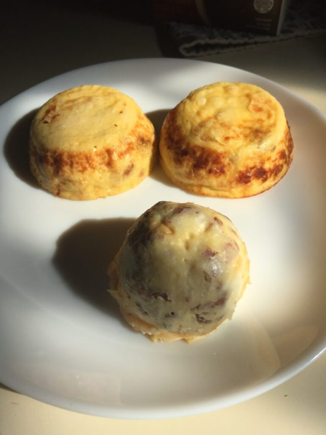 Hormel egg bites with Amy's bacon egg cheese version