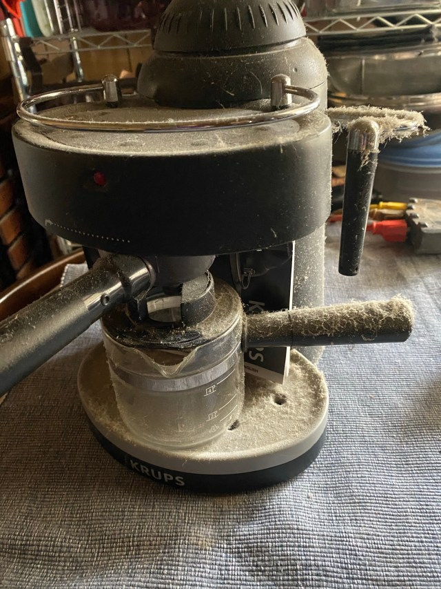 Dusty cappuccino machine