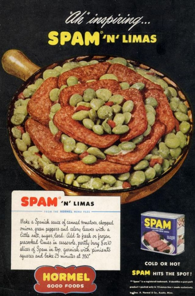 Spam & Lima Bean Recipe from 1946