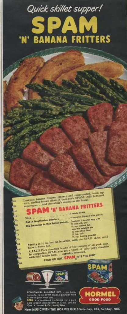Ad for s-p-a-m with banana fritters from 1951