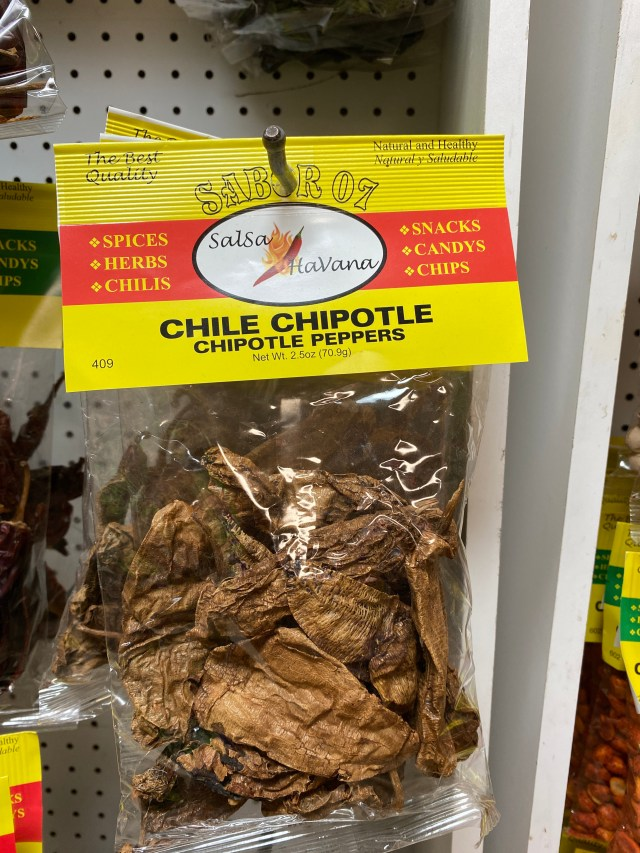 Packet of dried chipotle chiles on the rack
