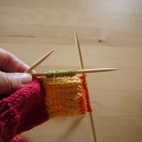 The Green sts are the picked up stitches to form the gusset.