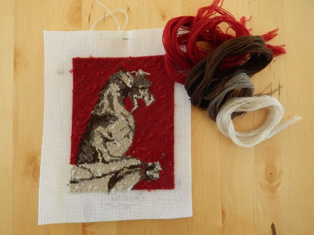 Chimera Goat-lion needlepoint, reverse.