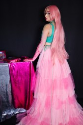 Heather Spears Wearing Custom Pink Tulle Overskirt