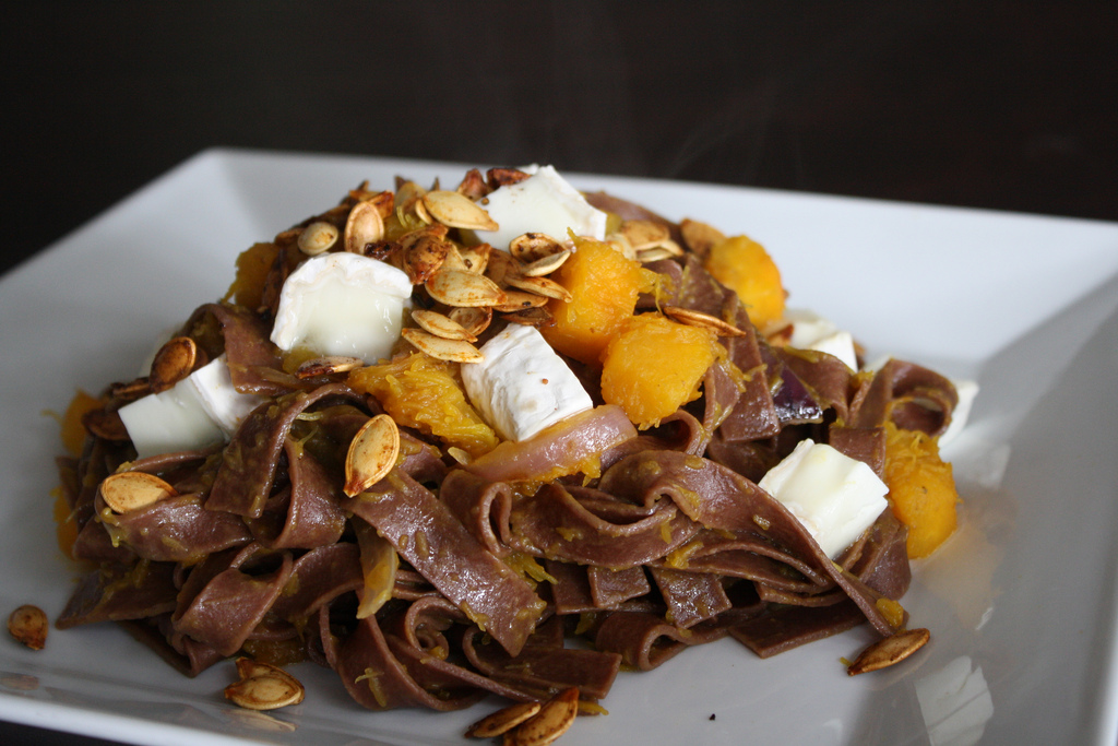Chocolate Pasta with Pumpkin and Goat Cheese | Heather Christo
