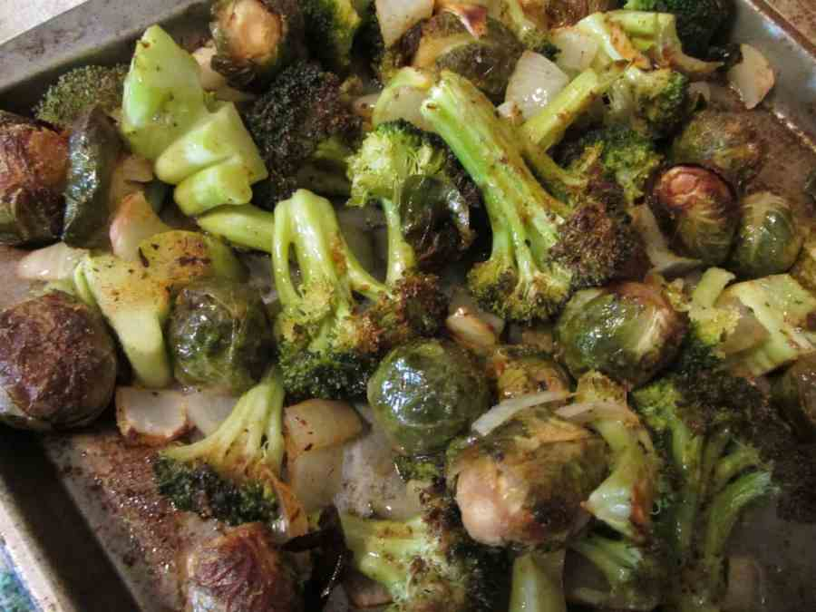 roasted broccoli, brussels sprouts, and onions