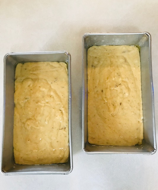 banana bread ready to go into the oven